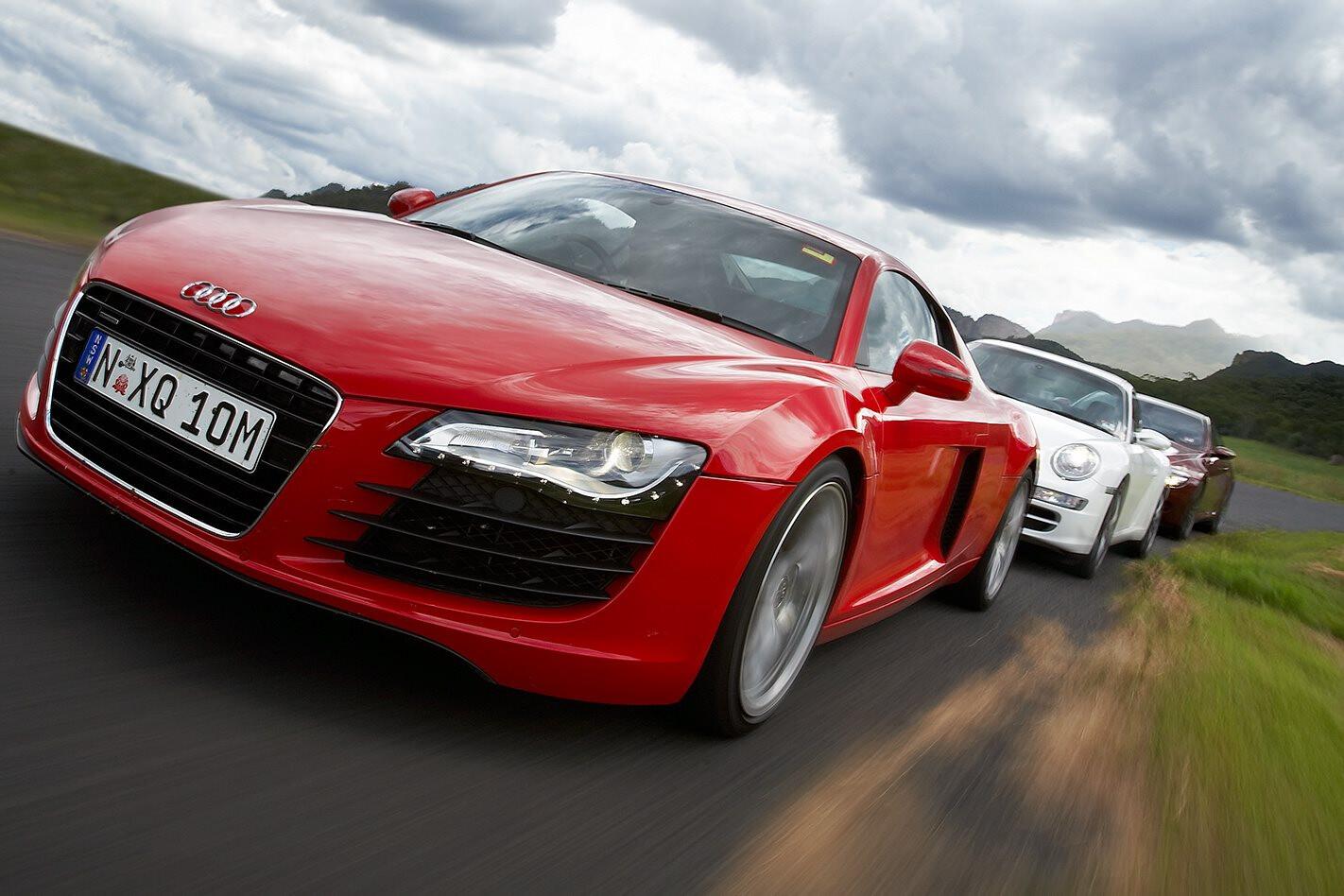 Audi R8 vs Porsche 911 Carrera S vs BMW M6 front