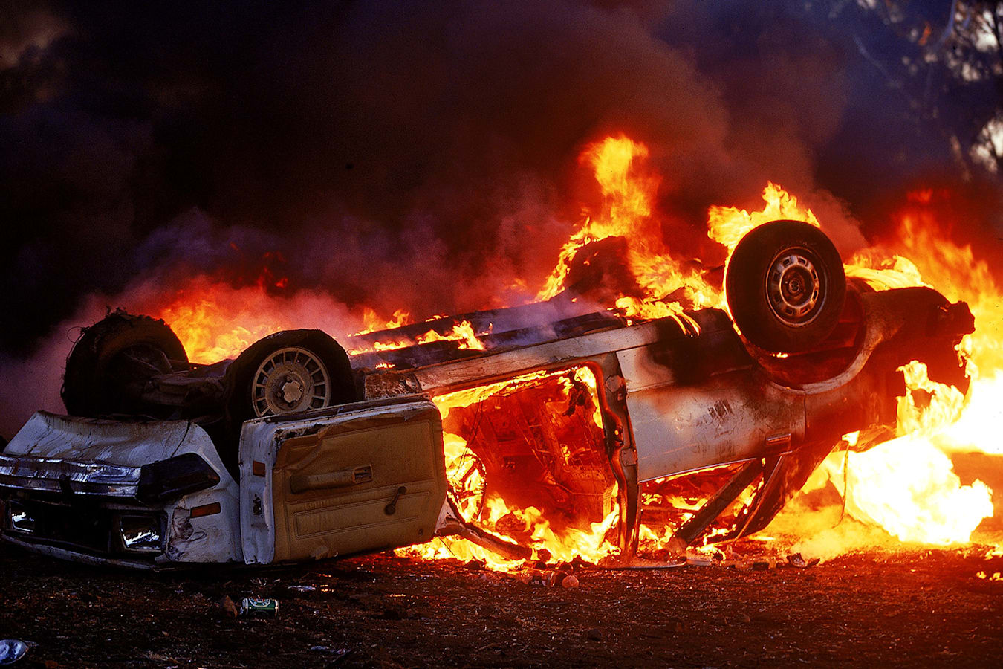 Bathurst Riots Burning Car Jpg