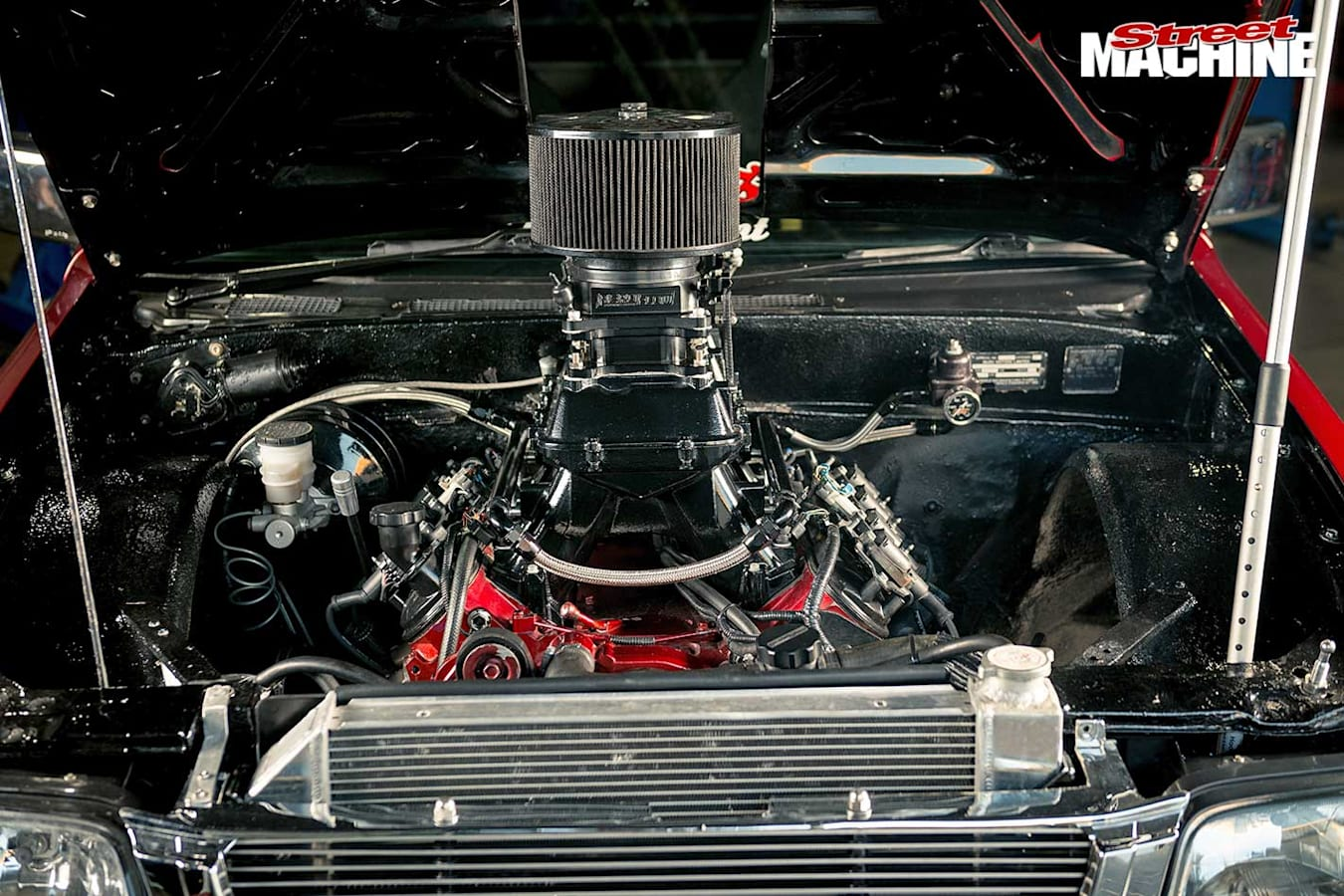 LS-powered Rodeo engine bay