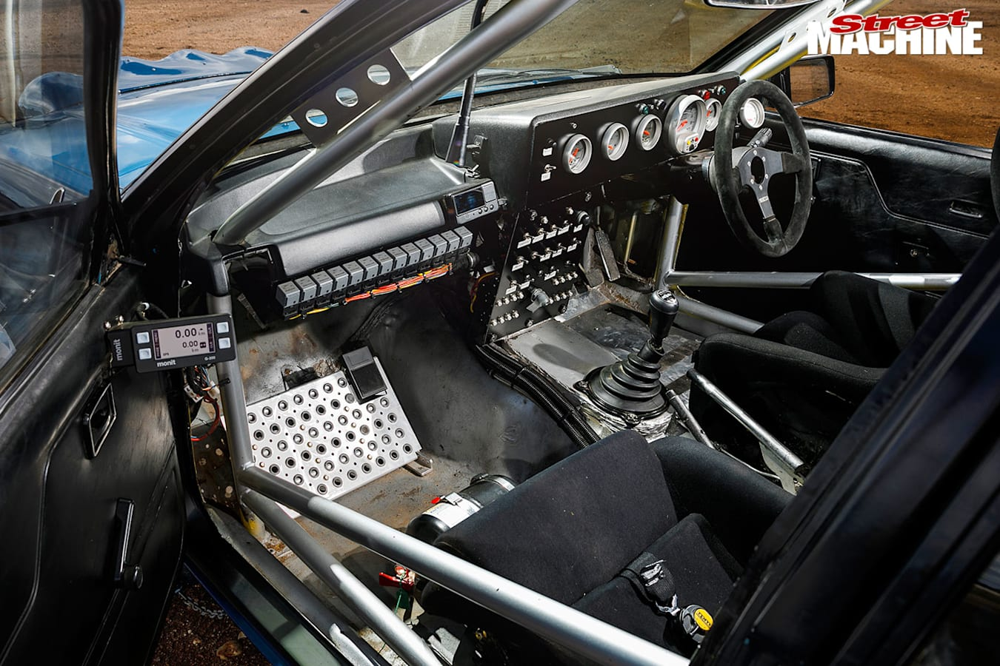 Holden VK Commodore rally car interior