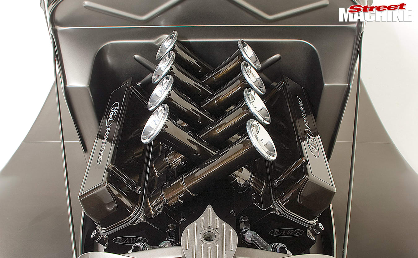 1933 Ford Coupe engine bay