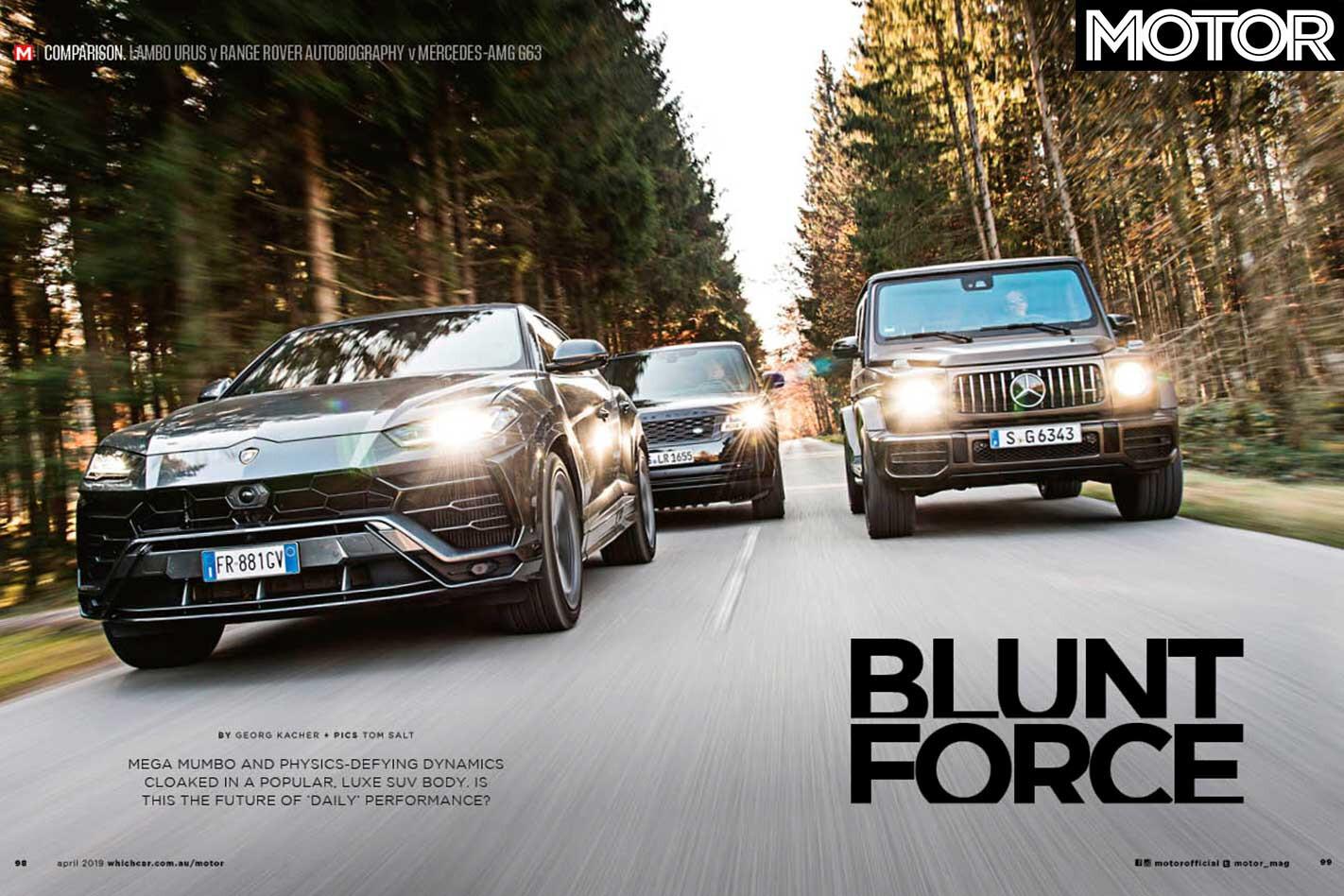 MOTOR Magazine April 2019 Issue Lamborghini Urus Vs Range Rover Autobiography Vs Mercedes AMG G 63 Feature Jpg