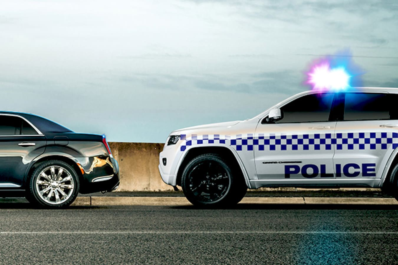 Police pulling over speeding driver