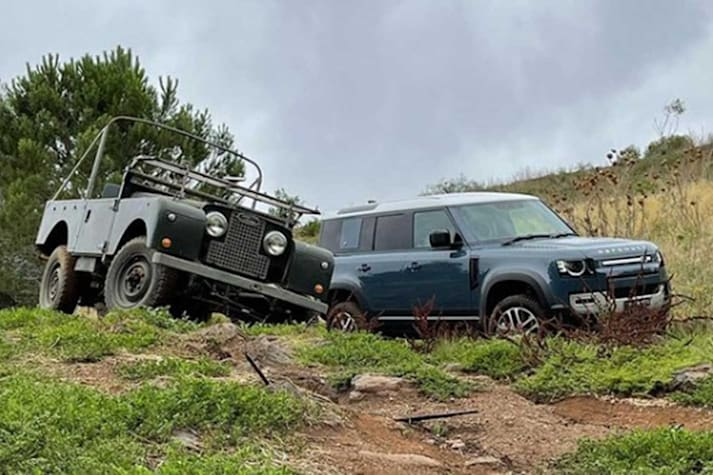 Old and new Defender at the 2020 4x4 of the Year