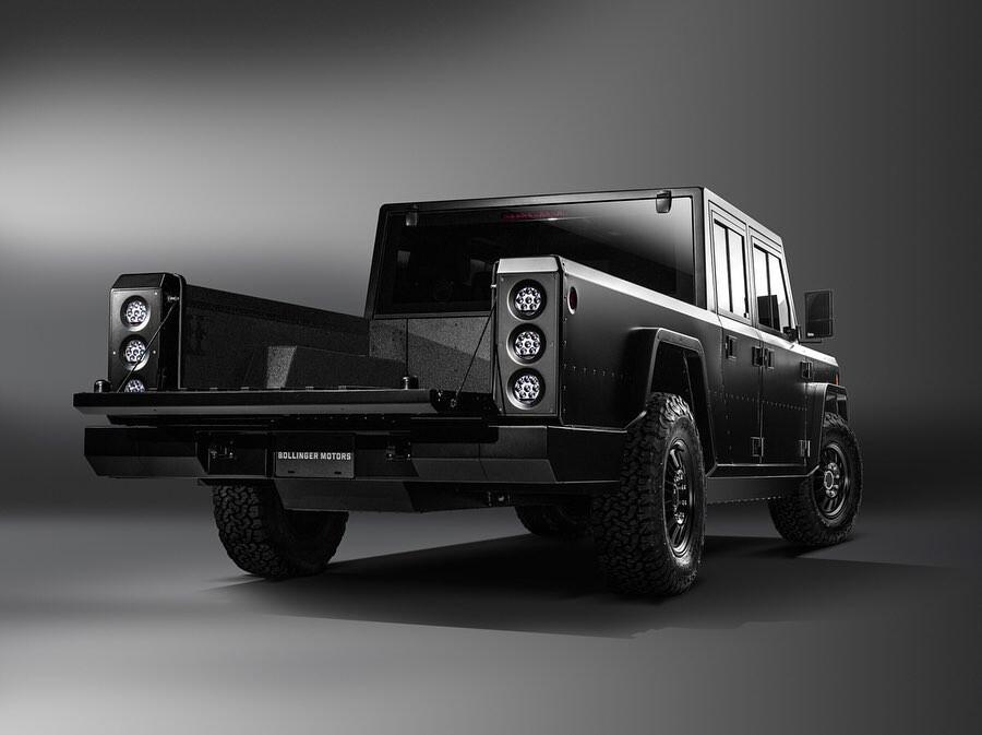 Bollinger pickup rear angle