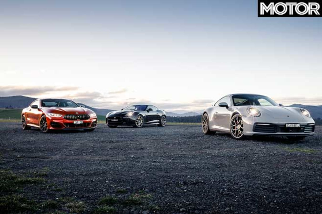 2019 BMW M 850 I Vs Porsche 911 Carrera 4 S Vs Jaguar F Type SVR Comparison Front Jpg