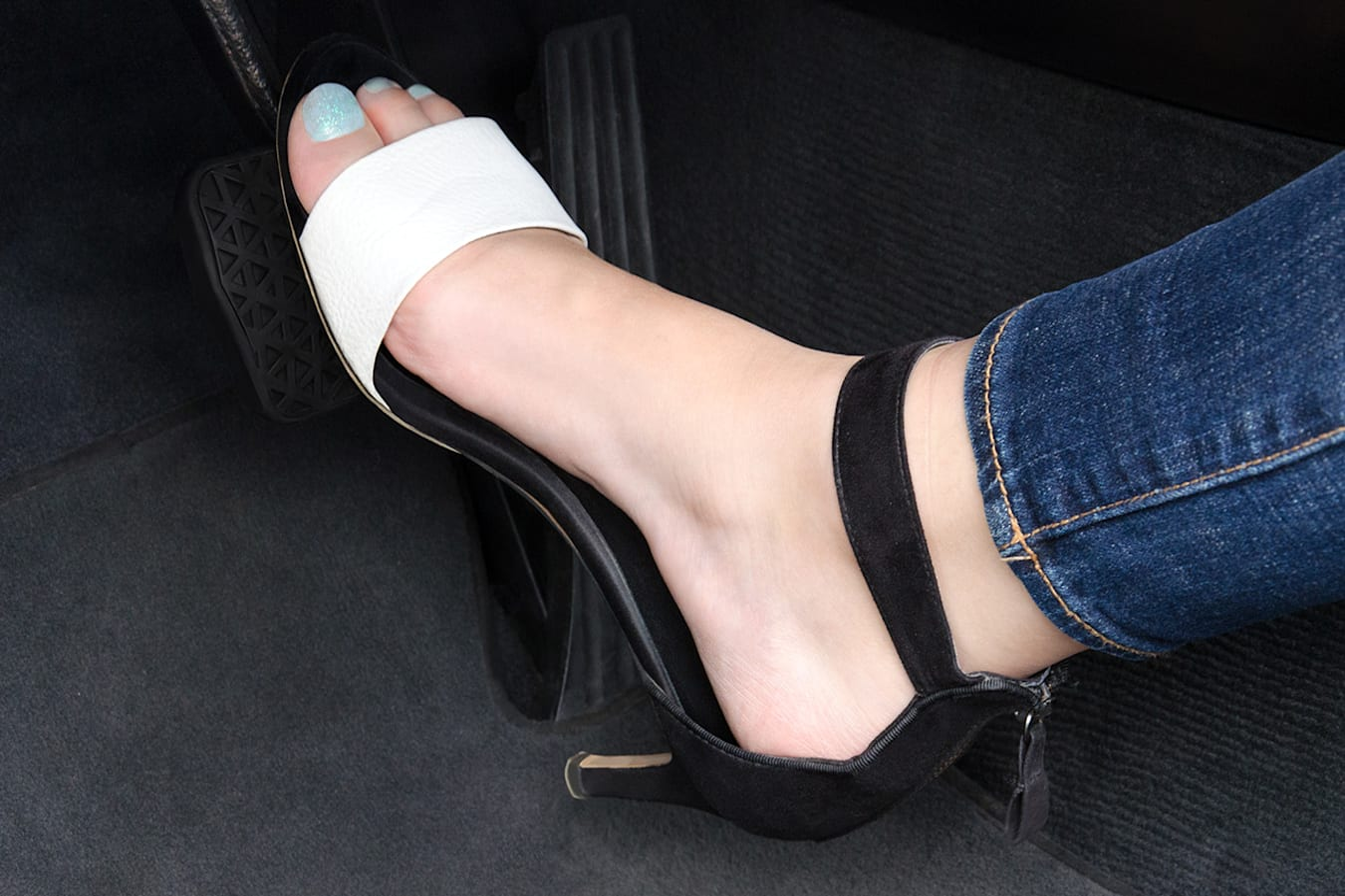 driving a car in kitten heels