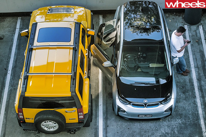 BMW-i 3-side -parked -top -view -birds -eye