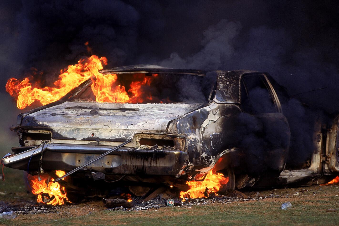 Bathurst Riots Burning Car 2 Jpg