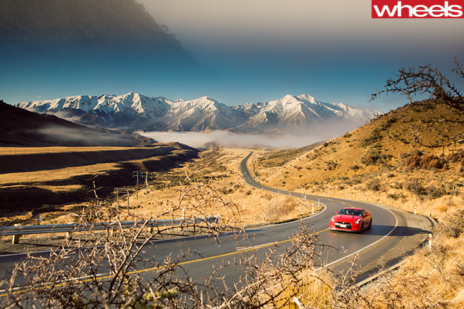 Nissan -GT-R-shakey -isle -new -zealand -driving -mountains