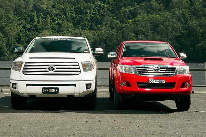 Toyota-Tundra-Crewmax-vs-Toyota-Hilux-SR5-double-cab-both