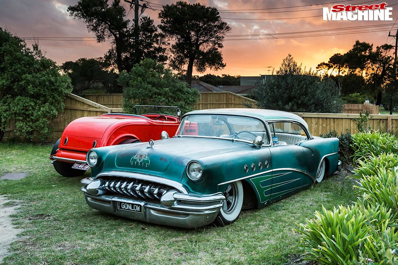 slammed Desoto-grille Buick and 32 roadster