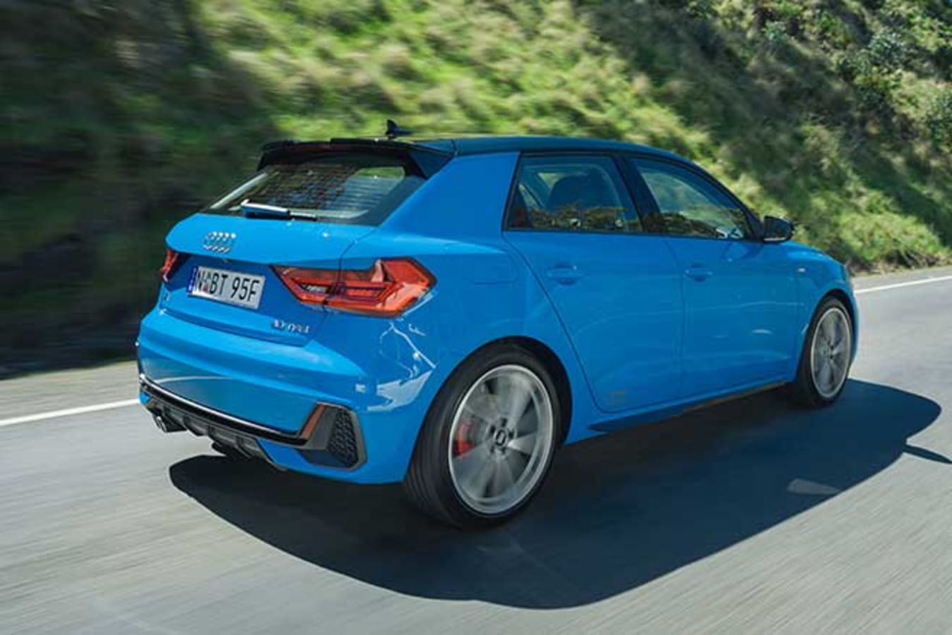 Audi A1 with S-line bodykit and 18-inch wheels.