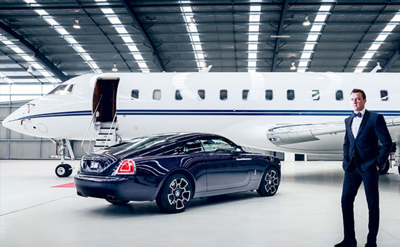 Rolls-Royce Wraith Black Badge, Bombardier Global Express and Daniel Gardner