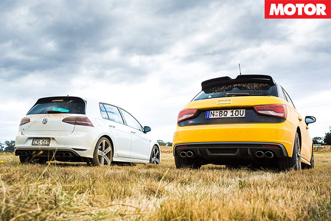 Audi S1 vs VW Golf-R main