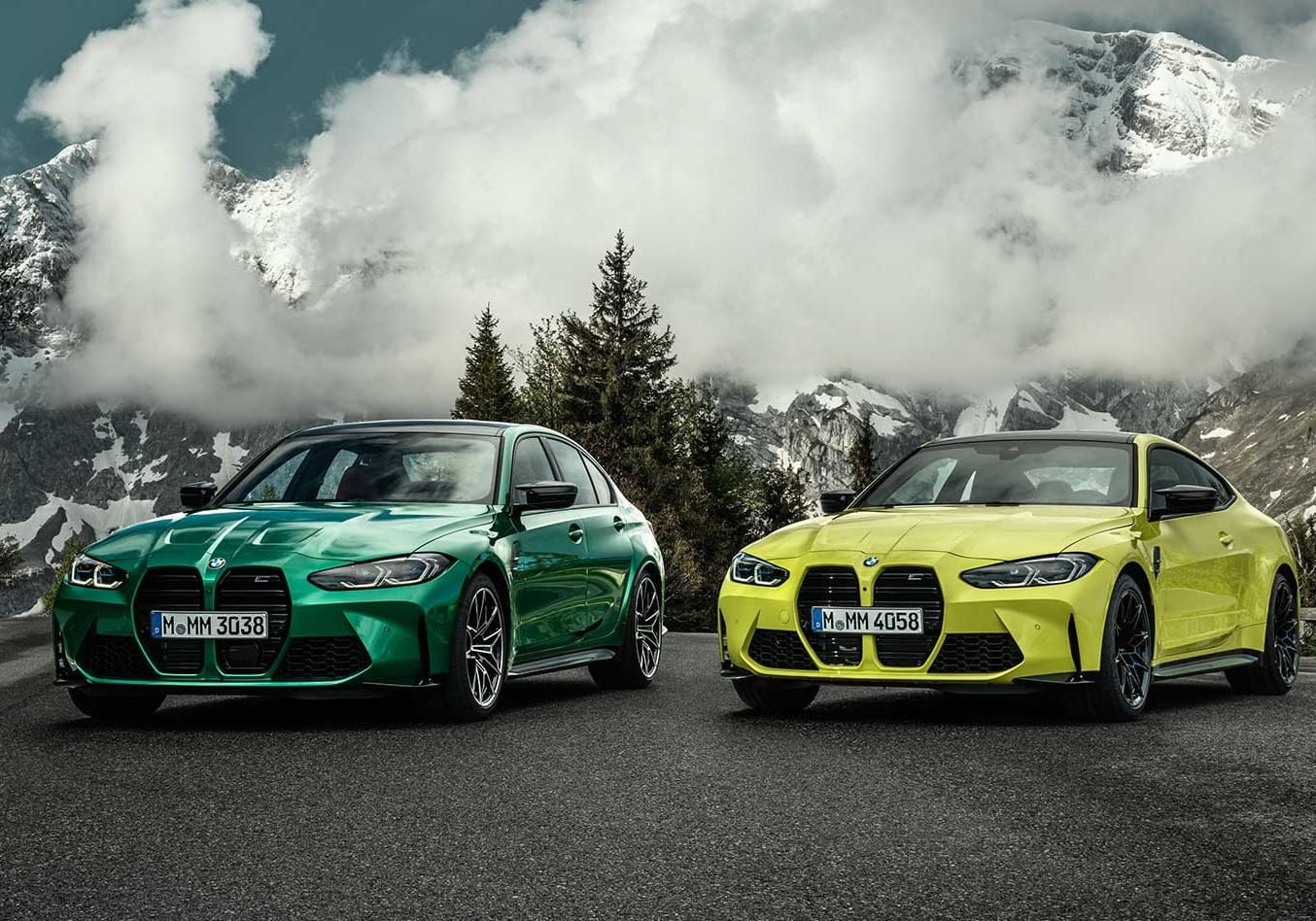 2021 BMW M3 Competition and M4 Competition parked together.