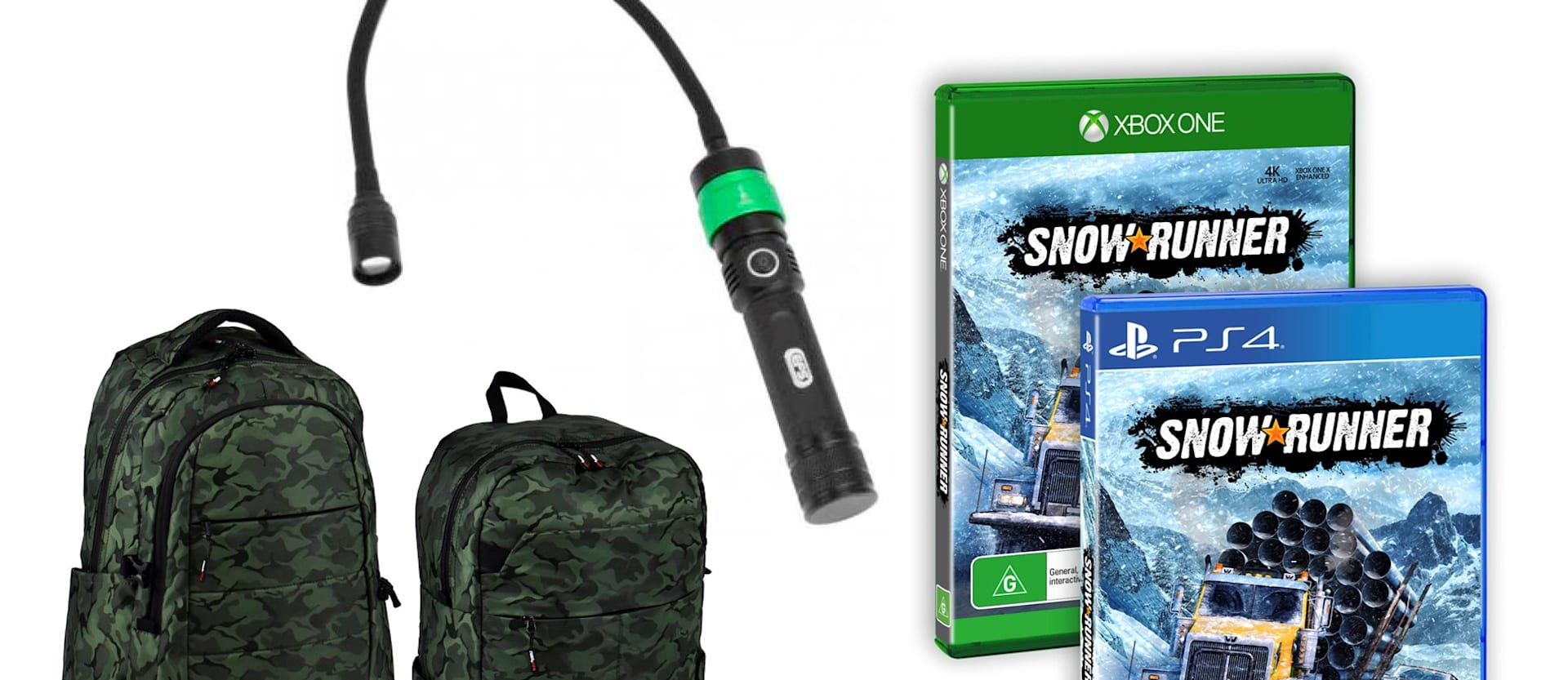 Blackwolf backpack, EFS tactical torch and SnowRunner game