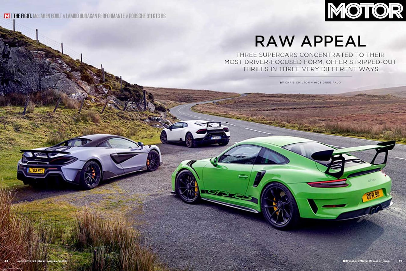MOTOR Magazine April 2019 Issue Mc Laren 600 LT Vs Lamborghini Huracan Performante Vs Porsche 911 GT 3 RS Feature Jpg