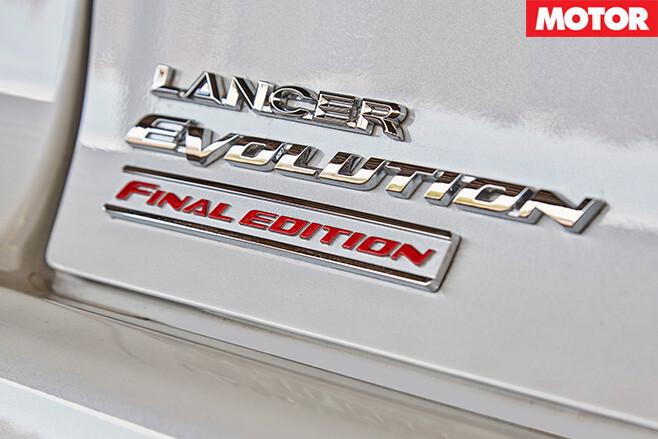 Mitsubishi Evo Final Edition badge