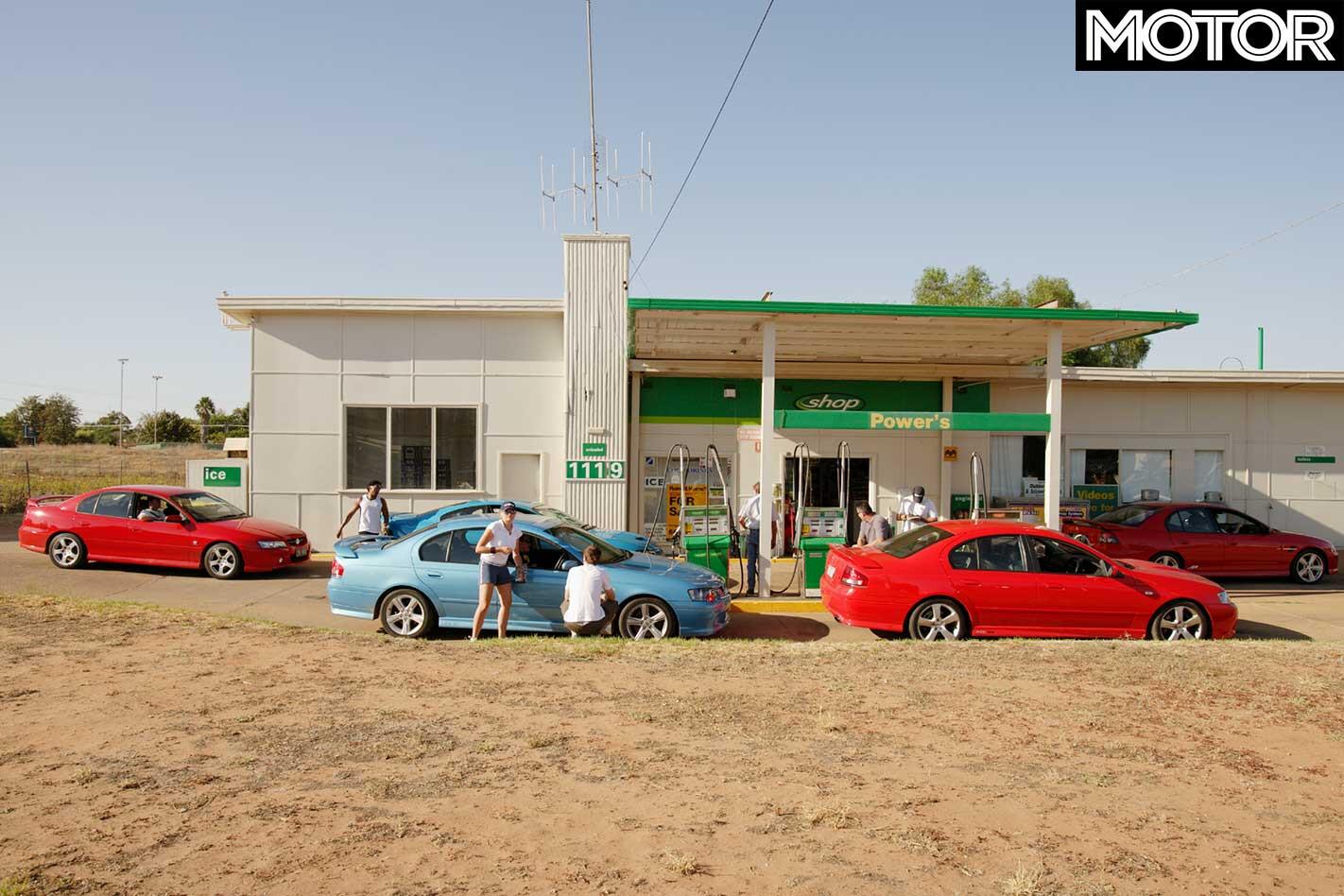 All Aussie Showdown 2005 Holden Commodore SS Vs Monaro CV 8 Vs Commodore SV 8 Vs Ford Falcon XR 6 Turbo Vs Falcon XR 8 Fuel Stop Jpg
