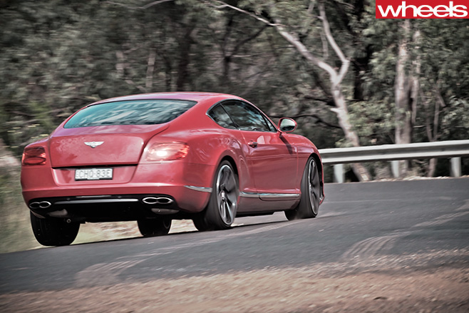2013-Bentley -Continental -GT-driving -on -Bylong -Valley -Way -rear