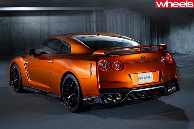 Orange -Nissan -GT-R-rear -side