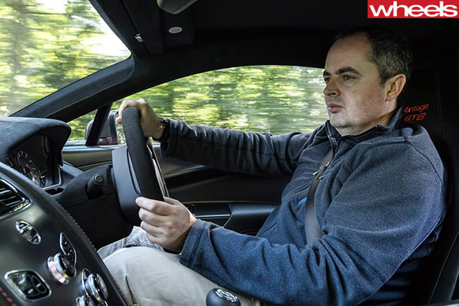 Mike -Duff -driving -Aston -Martin -Vantage -GT8-driving -front