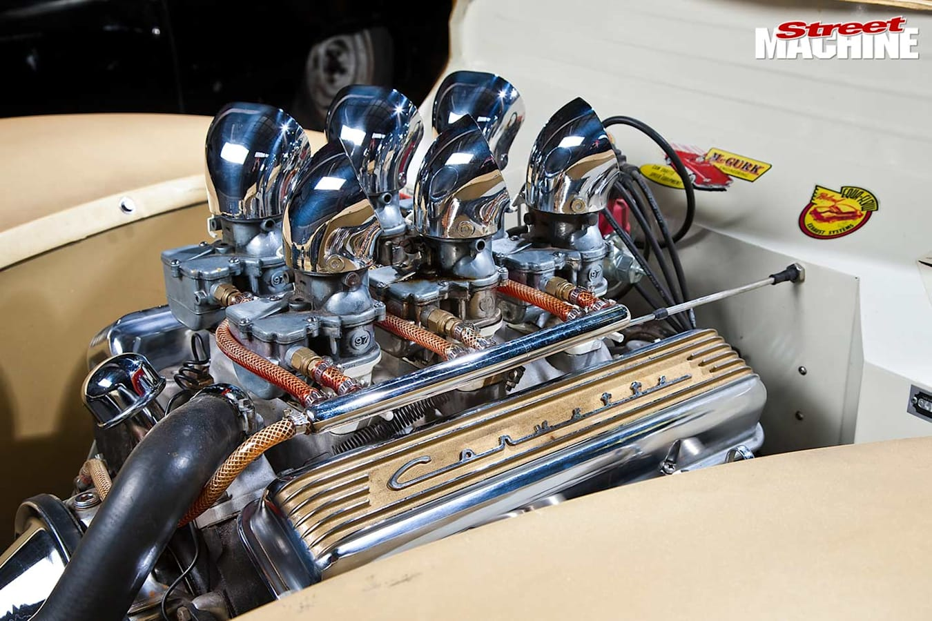 1940 Ford coupe engine bay