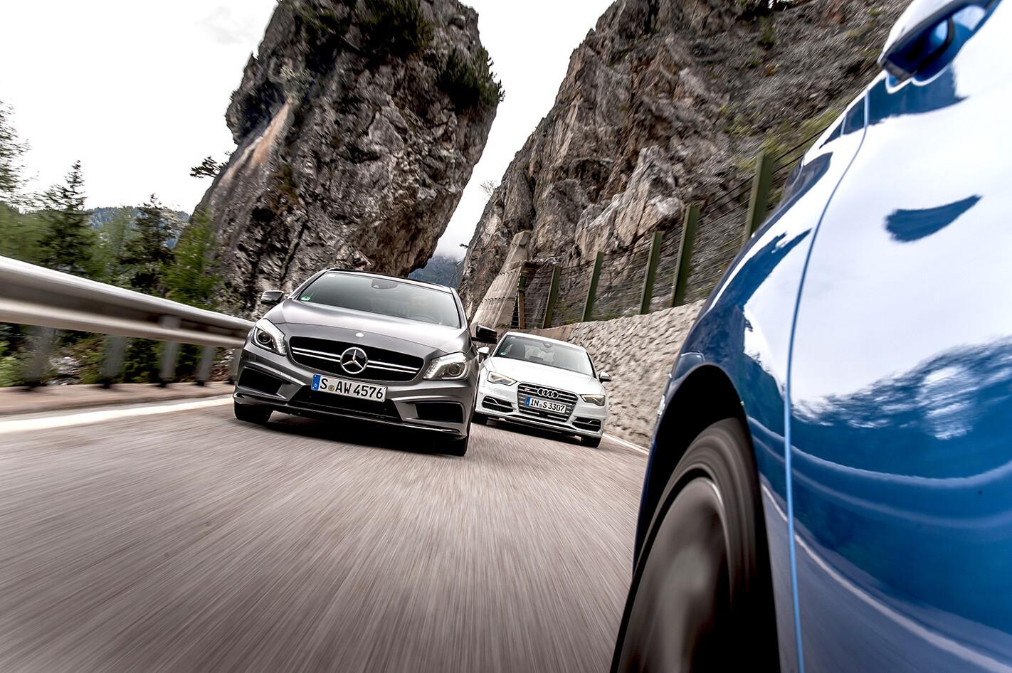 Audi S3 vs BMW M135i vs Mercedes A45 AMG on the road.jpg
