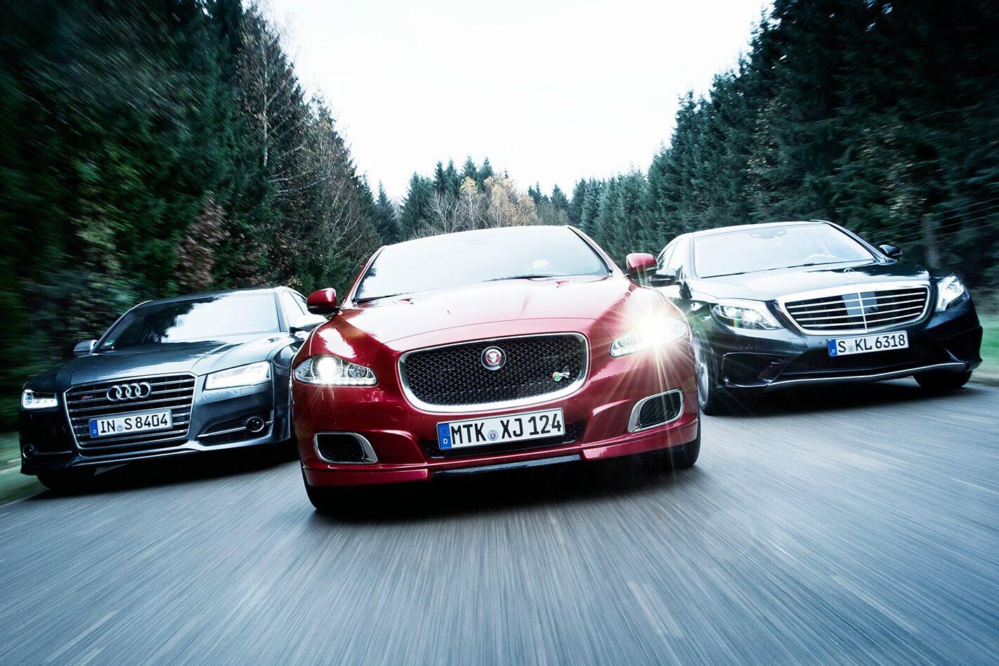 Audi S8 vs Jaguar XJR vs Mercedes-Benz S63
