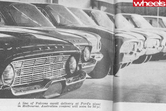 1960-Ford -Falcon -XK-lined -up -at -Ford -plant -Melbourne