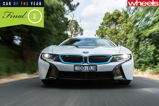 BMW-i 8-front -driving -on -road