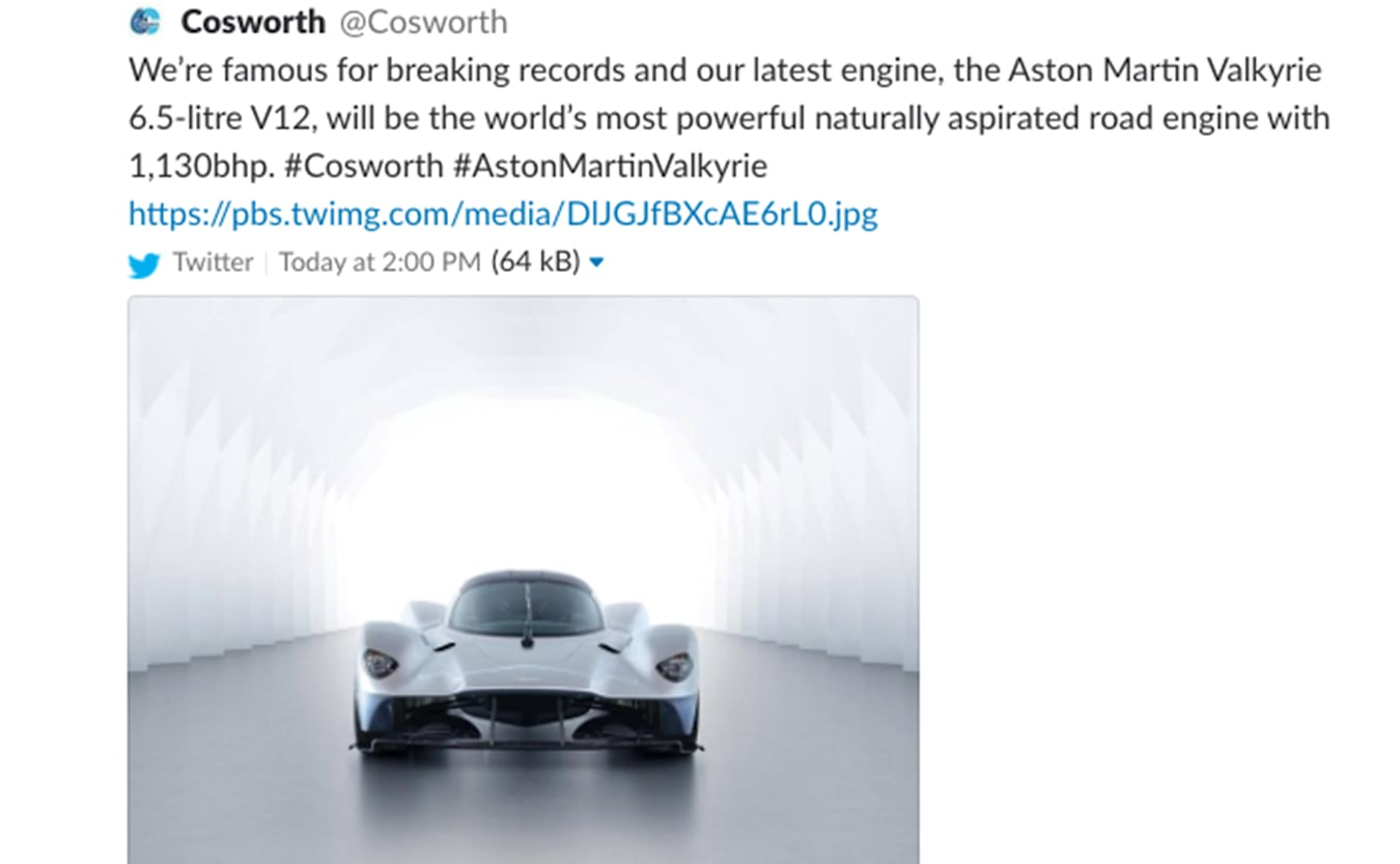 Aston Martin Valkyrie cosworth tweet