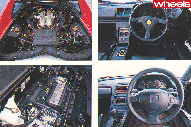 Ferrari -vs -Honda -NSX-interior -and -engine