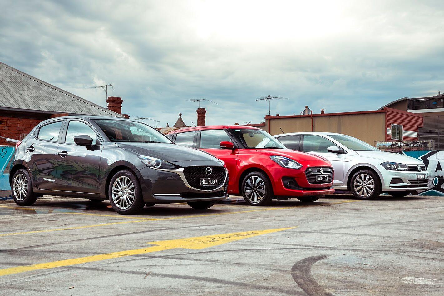 Mazda 2 vs Suzuki Swift vs VW Polo hatchback comparison