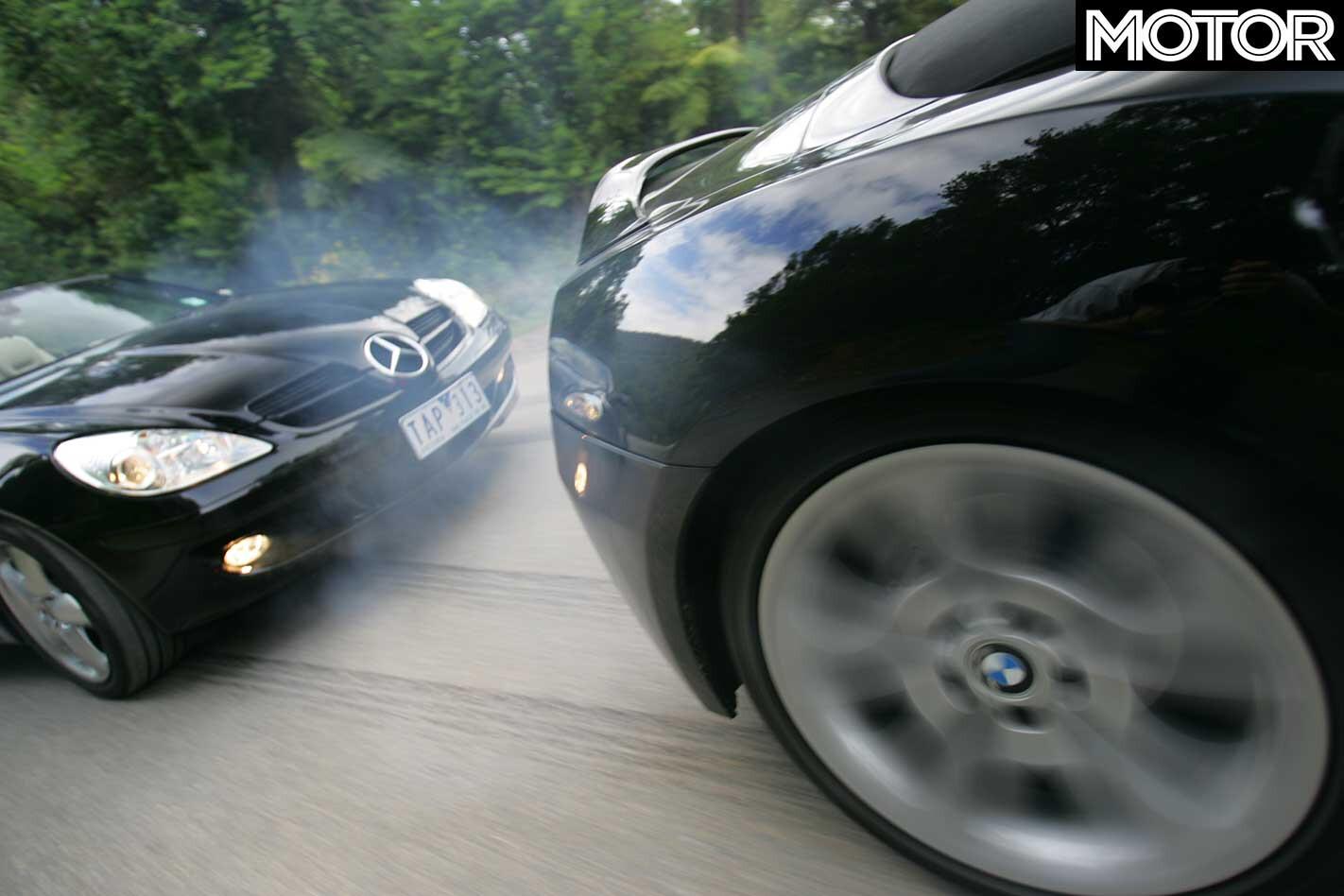 2004 BMW Z 4 Roadster Vs Mercedes Benz SLK 350 Comparison Burnout Jpg