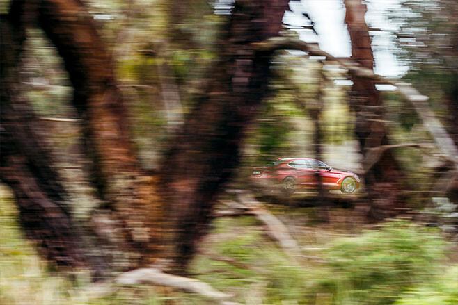 Genesis G70 through trees