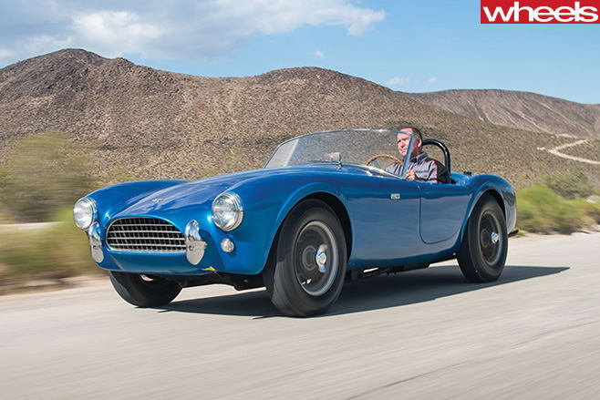 Blue -shelby -cobra -driving
