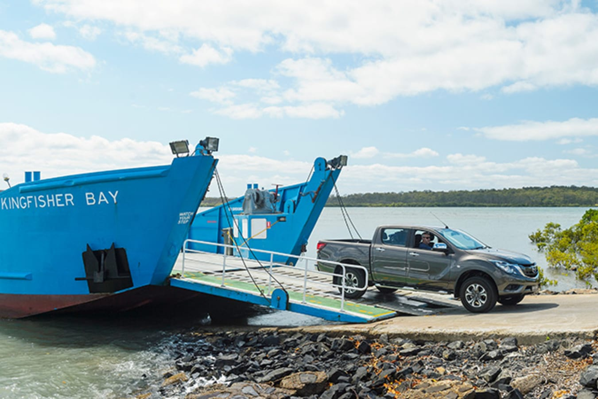 Mazda BT-50 at Fraser Island getting off boat
