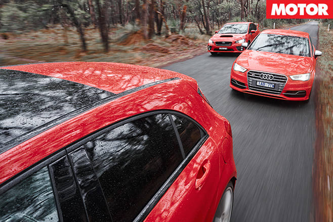 WRX STI vs Audi S3 vs A45 AMG driving