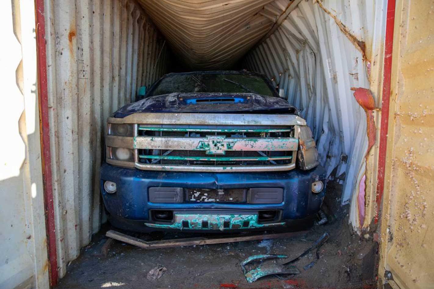 Sunken Chevrolet Silverado 2500s salvaged