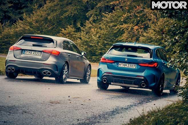 BMW M 135 I X Drive Vs Mercedes AMG A 45 S Comparison Rear Jpg