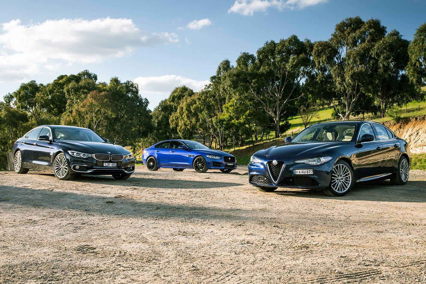 Alfa Romeo Giulia Super v Jaguar XE 25t R-Sport v BMW 420i Gran Coupe comparison