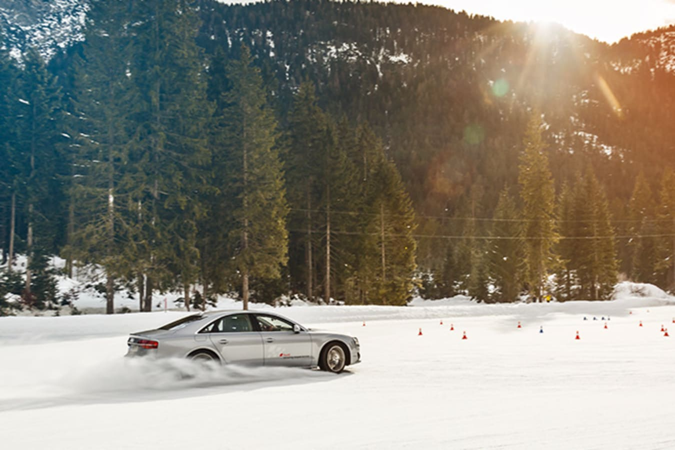 Audi Driving Experience - silver Audi on ice