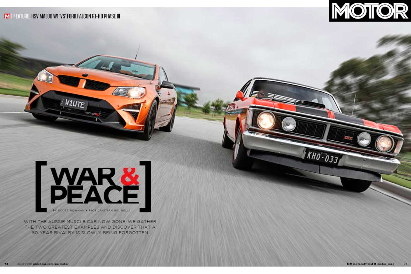 MOTOR Magazine April 2019 Issue HSV Maloo W 1 Vs Ford Falcon GT HO Phase III Feature Jpg