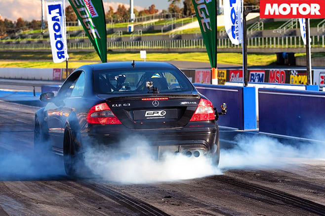 Merc black smoking tyres