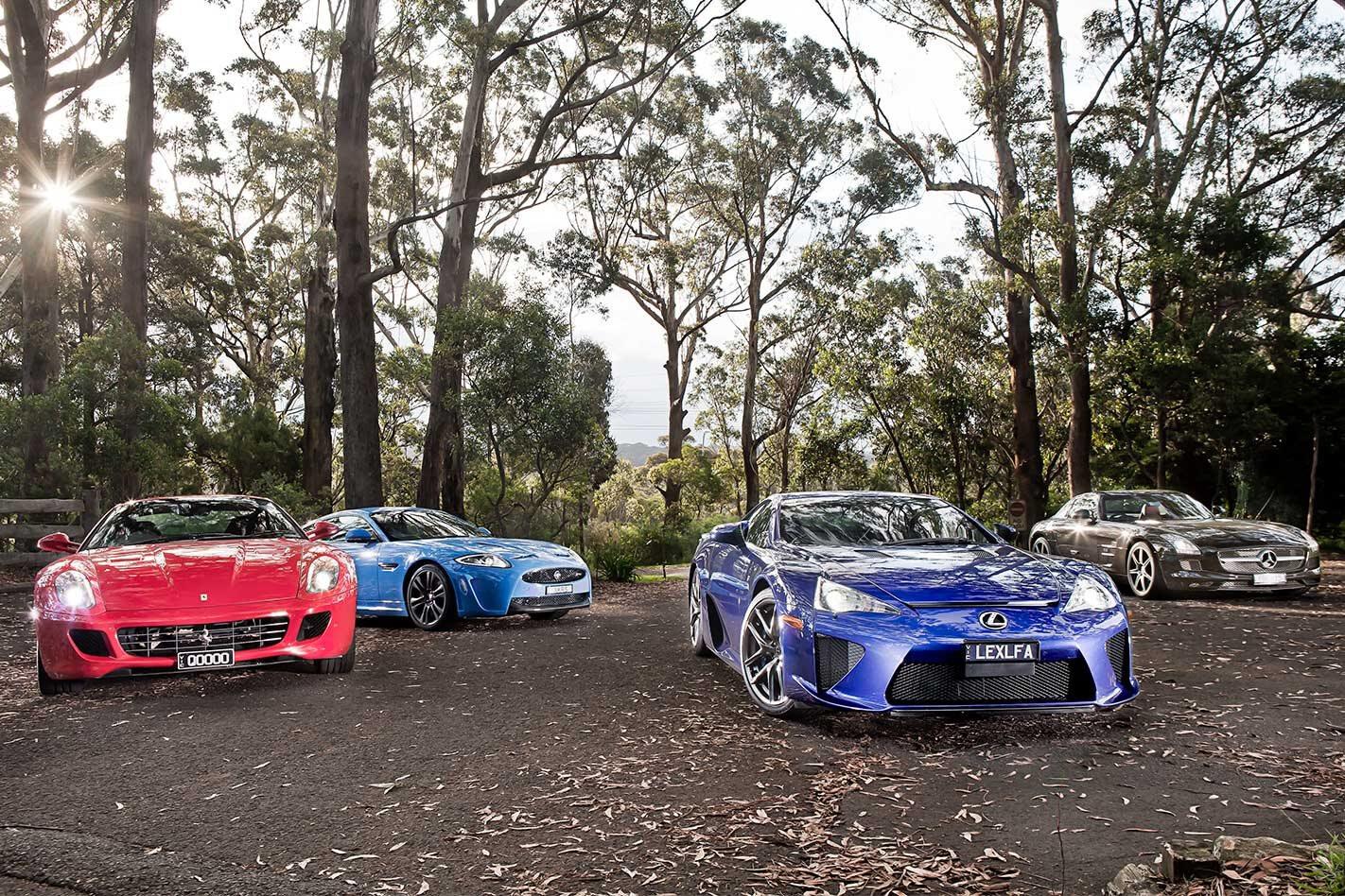 2011 Ferrari 599 v Lexus LFA v Mercedes-Benz SLS AMG v Jaguar XKR-S comparison