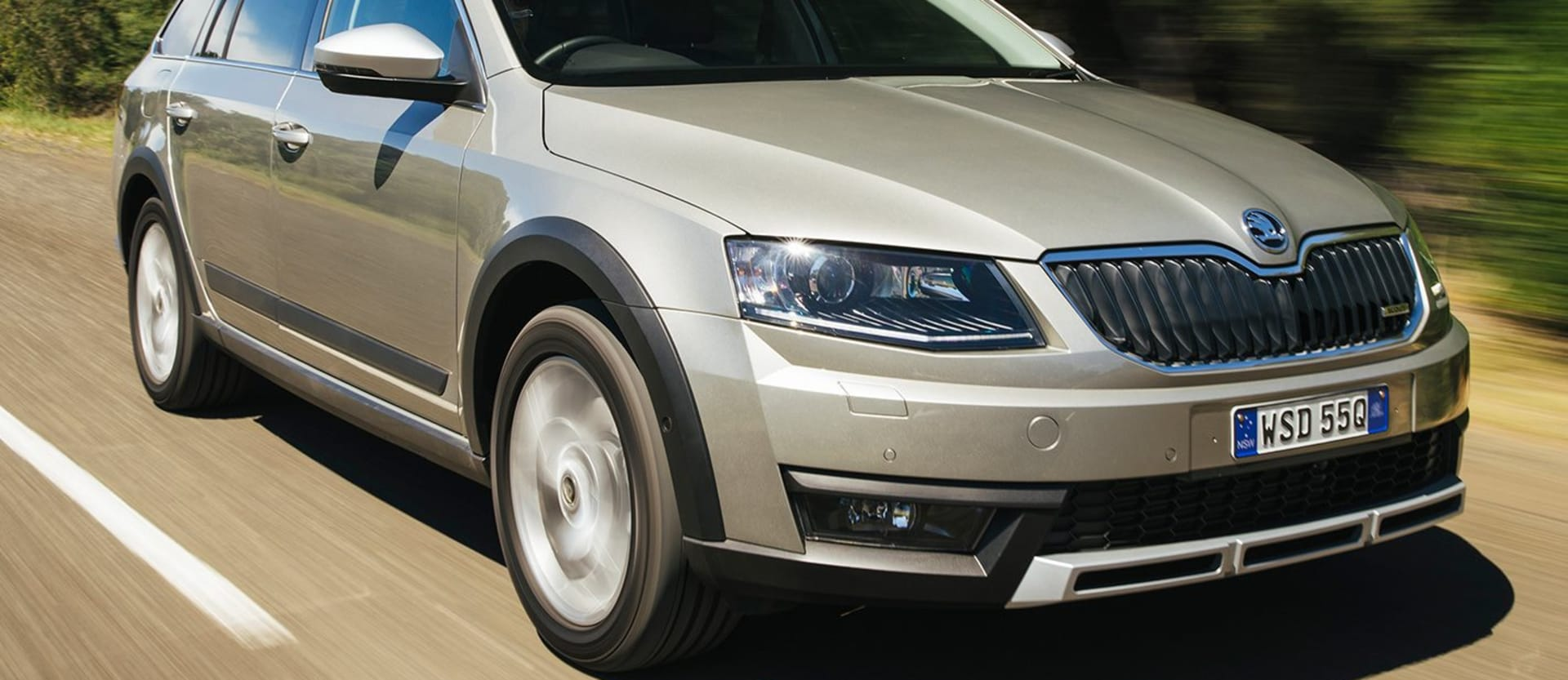 WC Skoda Octavia Scout Front Side Driving On Road Jpg