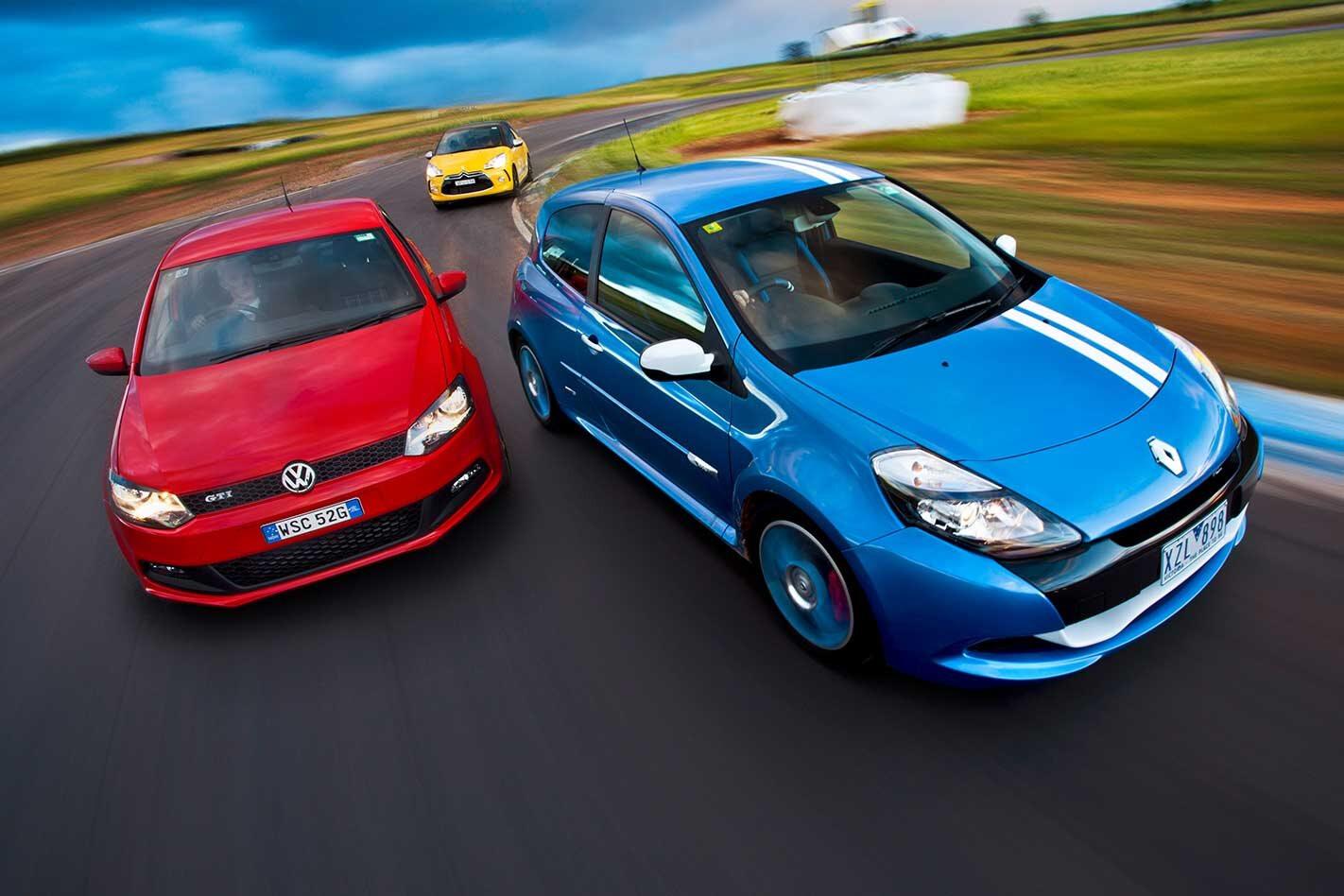 2011 Citroen DS3 vs Renault Clio RS200 Gordini vs Volkswagen Polo GTI comparison classic MOTOR