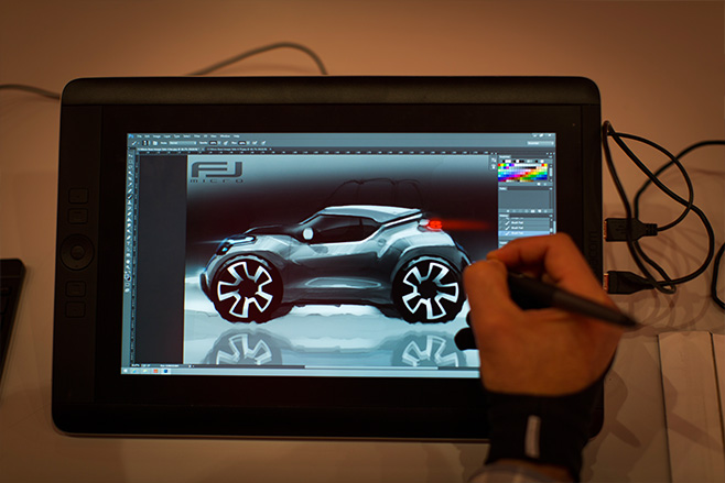 Designer -drawing -car -ipad